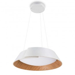 Colgante LED 20W Blanco Madera Nonagon 4902131P1